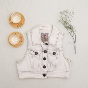 Cropped White Denim Vest